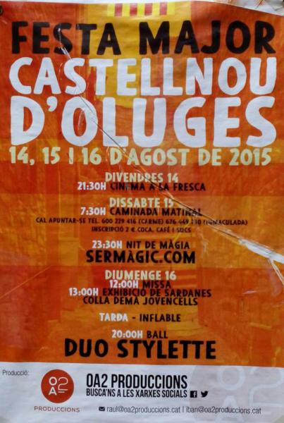 cartell Festa major Castellnou d'Oluges 2015