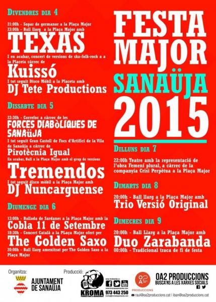 cartell Festa Major de Sanaüja 2015