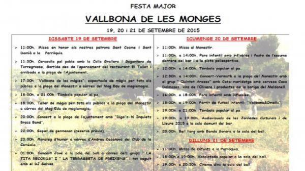 cartell Festa Major de Vallbona de les Monges 2015 - Vallbona de les Monges