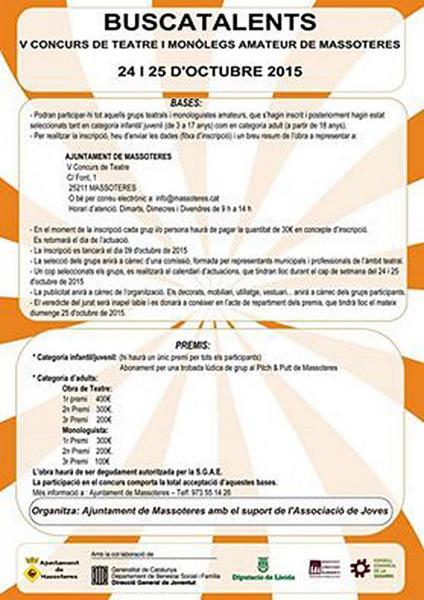 Bases V edició del Concurs de Teatre i Monòlegs amateur - Massoteres