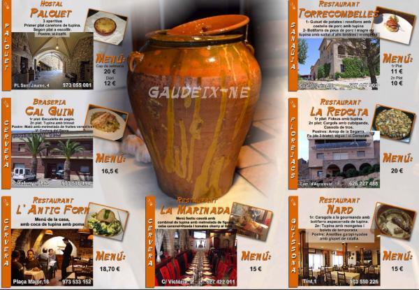 Menús II Jornades Gastronòmiques a la Segarra