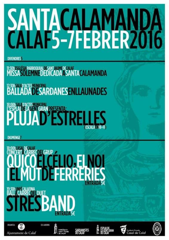 cartell Festa Major d'Hivern - Santa Calamanda - Calaf