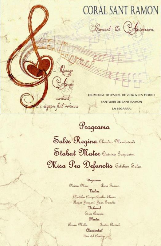 cartell Concert 15 anys de la Coral Sant Ramon