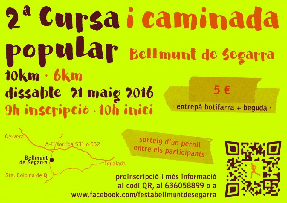 cartell 2ª Cursa i caminada popular Bellmunt de Segarra