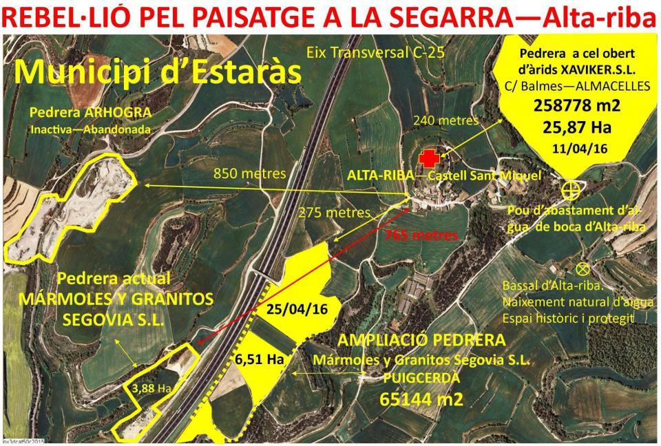 Els amics del Castell d'Alta-riba alerten del perill de dos pedreres més al municipi d'Estaràs.