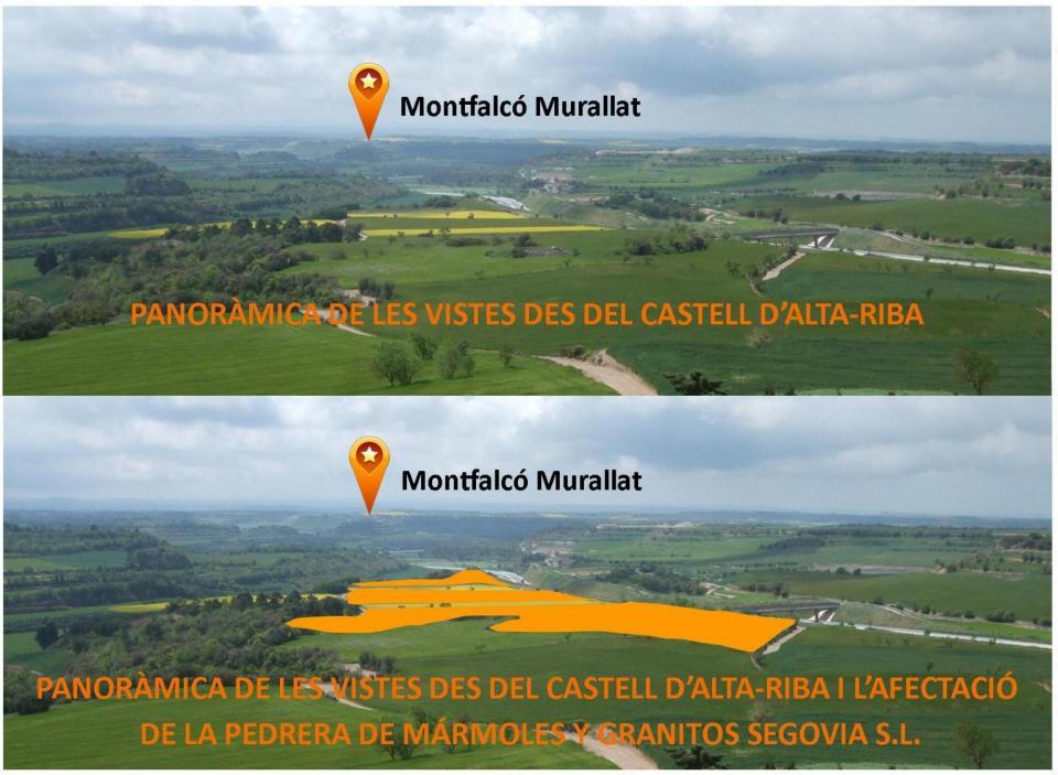 Afectació de la pedrera de l'empresa MÁRMOLES Y GRANITOS SEGOVIA - Alta-riba