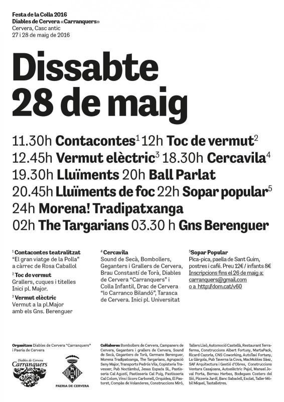 cartell Festa colla Carranquers 2016 - Cervera