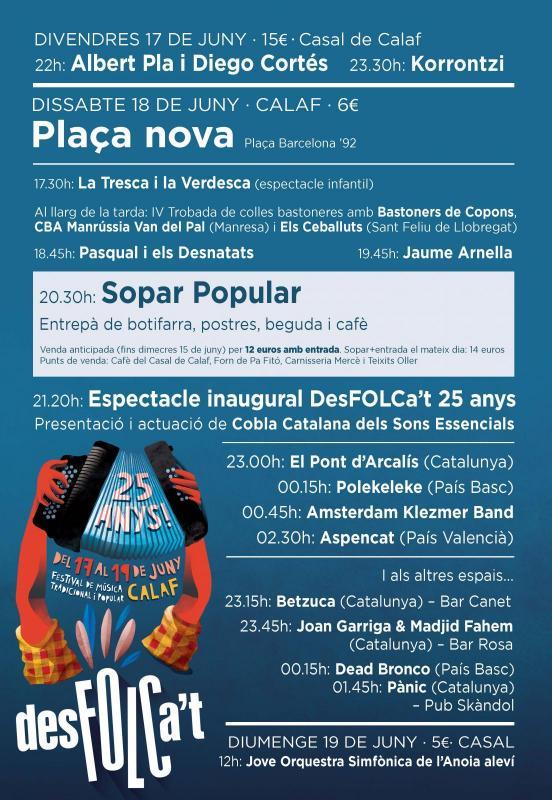 15 concerts per celebrar els 25 anys del Desfolca't aquest cap de setmana a Calaf