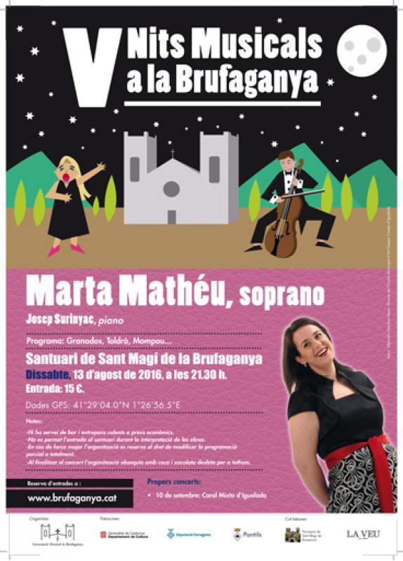 cartell Marta Mathéu, soprano / Pep Surinyac, piano (Nits Musicals a la Brufaganya)