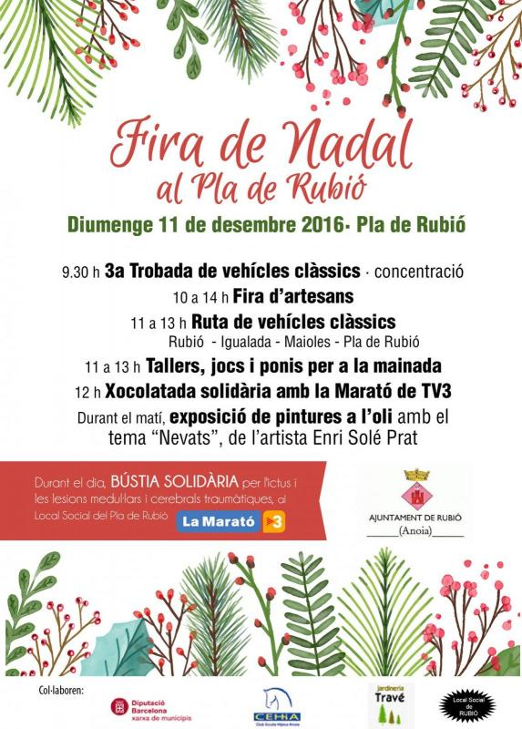 cartell Fira de Nadal al pla de Rubió