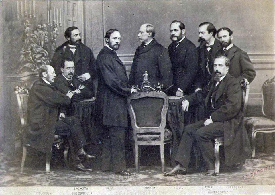 Govern provisional de 1869, Laureà Figuerola el primer assentat a l'esquerra - Madrid