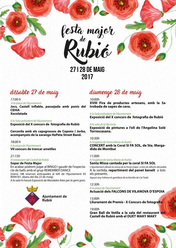 cartell Festa Major Rubió 2017