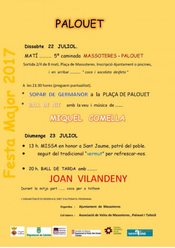 cartell Festa Major de Palouet 2017