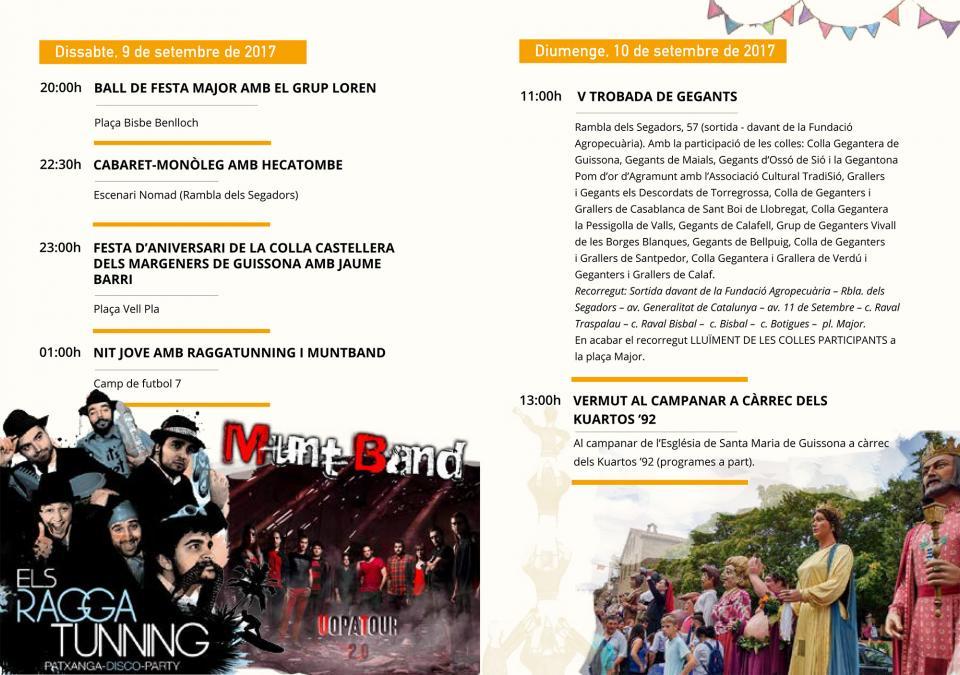 actes dissabte-diumenge Festa Major de Guissona 2017 - Guissona