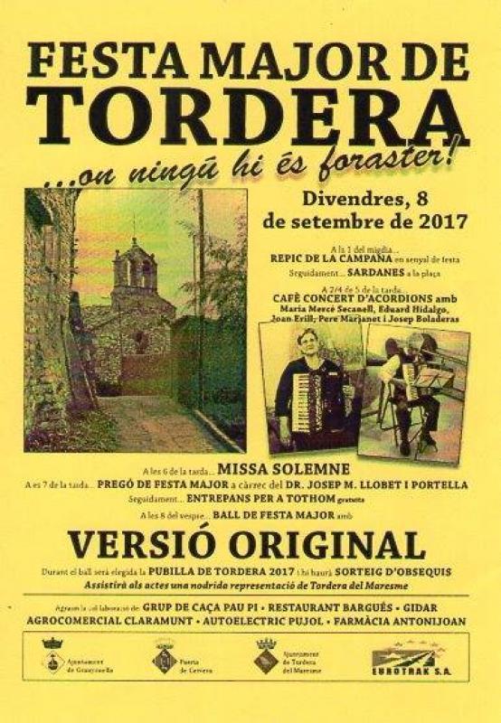 cartell Festa Major de Tordera 2017