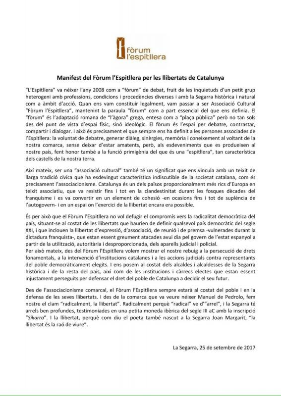 El Fòrum l'Espitllera aprova un manifest per les llibertats de Catalunya'