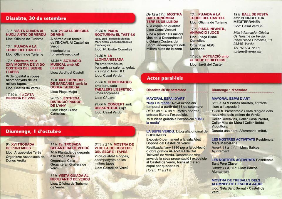 programa 28a Festa de la Verema i el Vi Bacus Verdú - Verdú