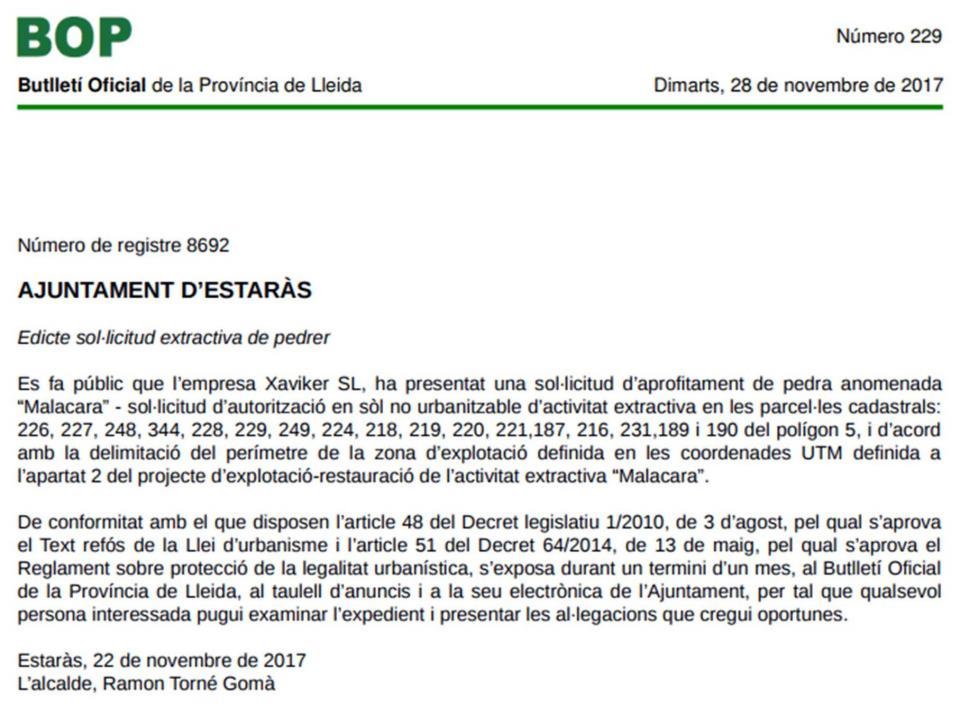 El Butlletí Oficial de la Província de Lleida ha publicat l'edicte -