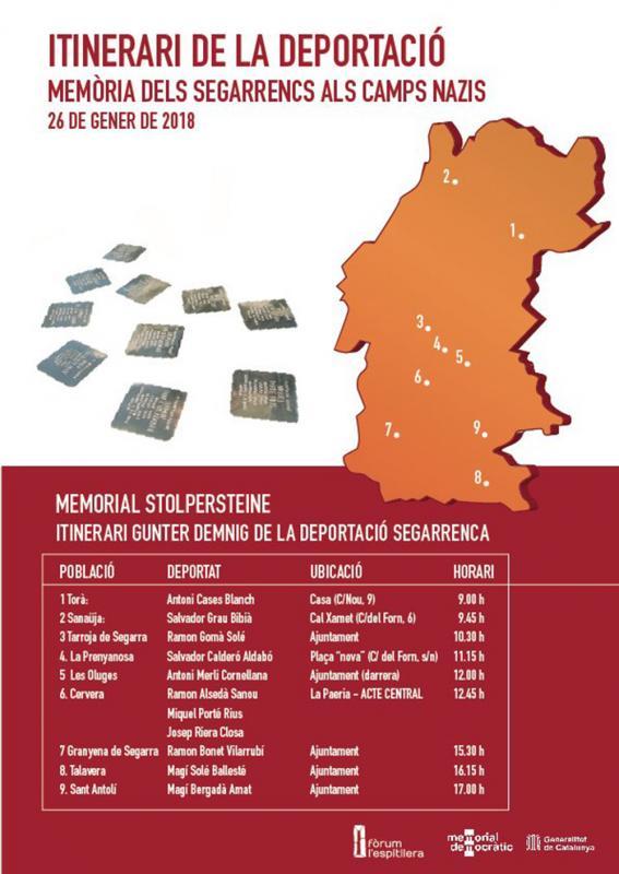 Programa de l'Itinerari de la deportació del 26 de gener. Memòria dels segarrencs als camps nazis -