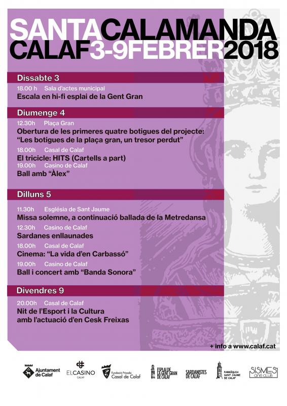 programa de Santa Calamanda, Festa Major d'Hivern  de Calaf