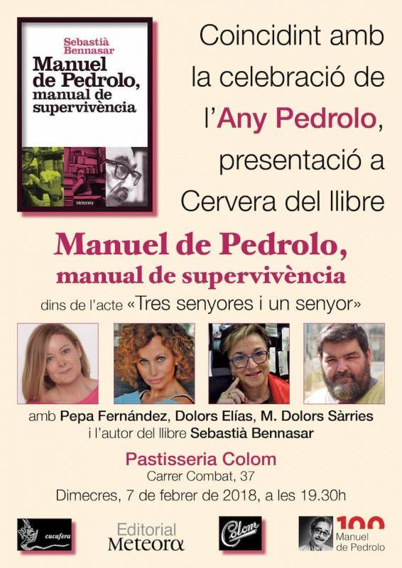 cartell Presentació del llibre ' Manuel de Pedrolo, manual de supervivència'
