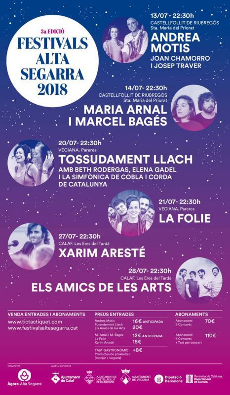 Cartell Festivals Alta Segarra 2018 -
