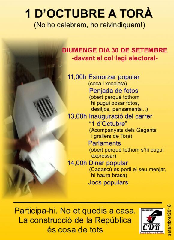 Actes commemoratius 1-Octubre Torà -