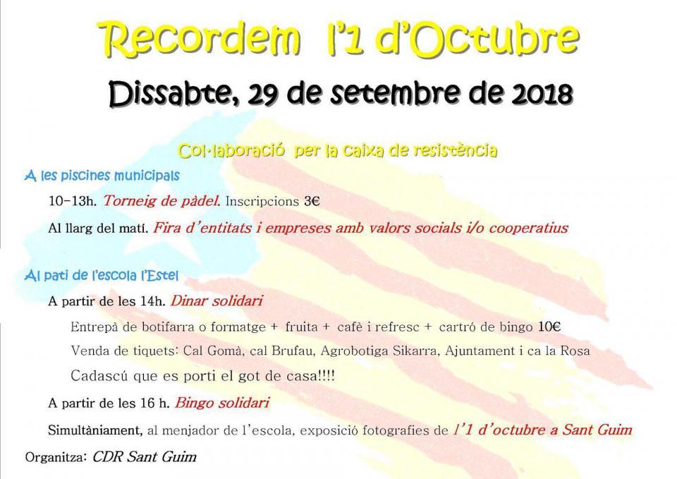 Actes commemoratius 1-Octubre Sant Guim de Freixenet -