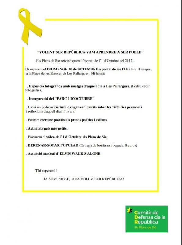 Actes commemoratius 1-Octubre a la Segarra Els Plans de Sió -