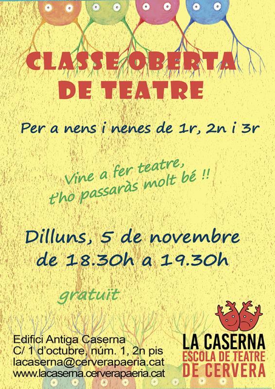 cartell Classe oberta de teatre per infants