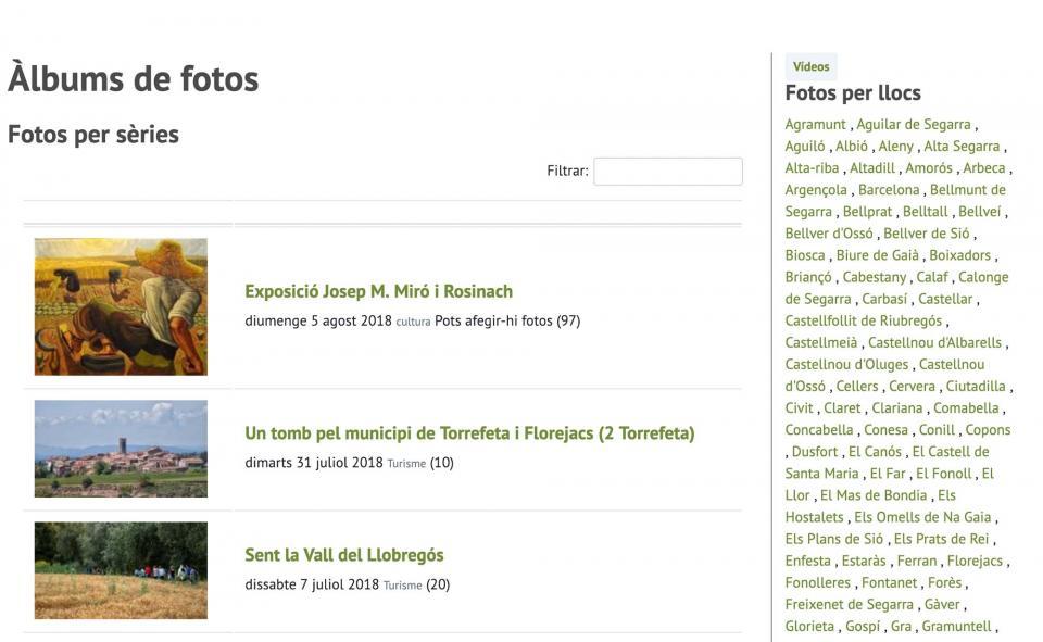 Àlbums de fotos en la nova versió de la web Som Segarra -