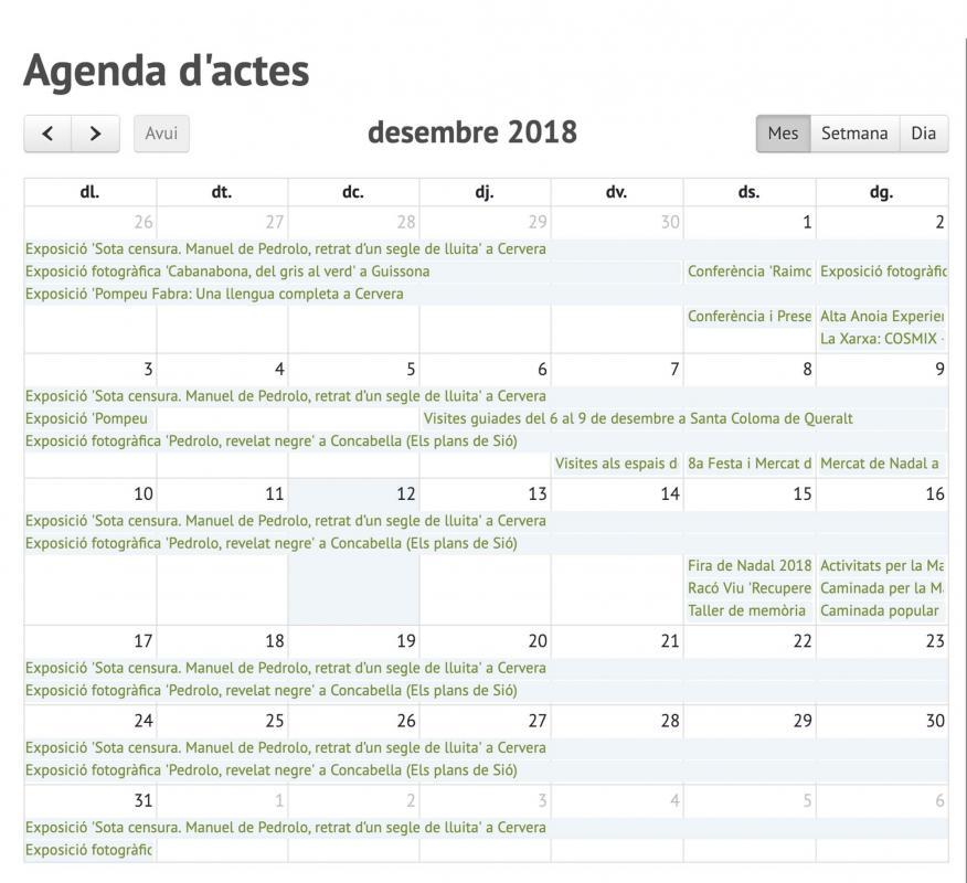 Agenda en la nova versió de la web Som Segarra -