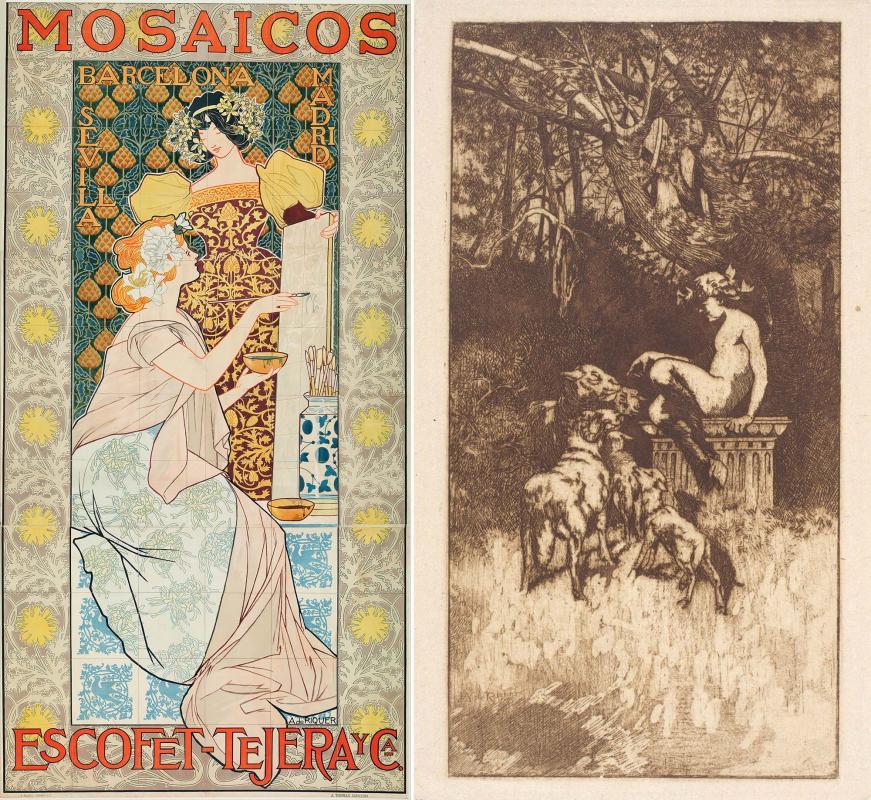 Poster Mosaicos Escofet-Tejera y CA (1900)  i gravat Allegorical Composition - Calaf
