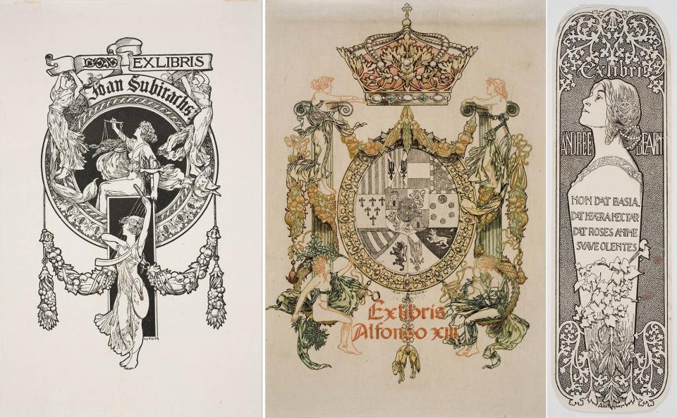 Ex-libris per Joan Subirachs /1904), Alfons XIII (1904) i Andrée Béarn - Calaf