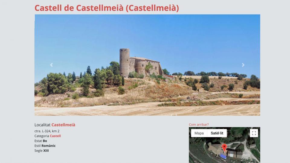 La presentació d'un recurs turístic a  Som Segarra Turisme mostra la geolocalització -