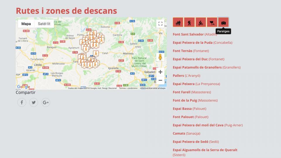 La secció natura del portal Som Segarra Turisme permet navegar per poblacions o tipus d'activitat -