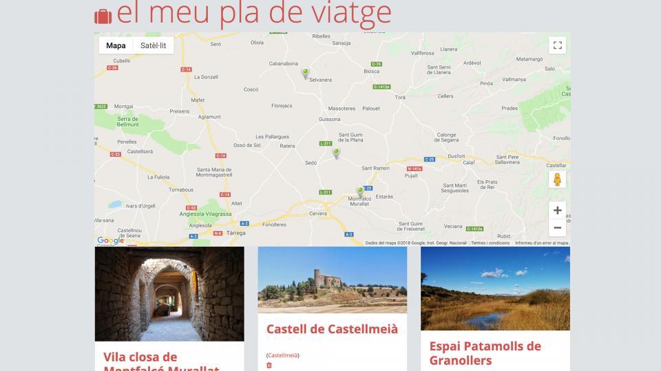 L'usuari pot confeccionar el seu pla de viatge a Som Segarra Turisme -