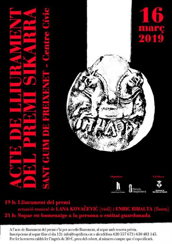 cartell Lliurament del Premi Sikarra 2019 a l'Agrupació Seny Major de Cervera