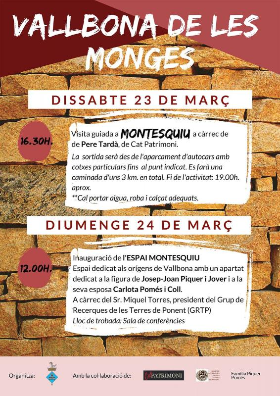 cartell Visita guiada a  Montesquiu - Vallbona de les Monges