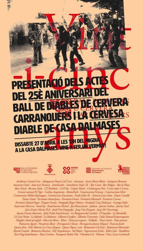 Acte de presentació del 25è aniversari del Ball de Diables de Cervera Carranquers