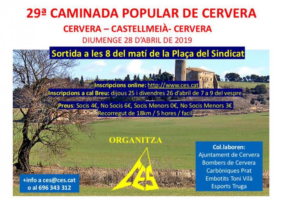cartell 29a Caminada Popular de Cervera