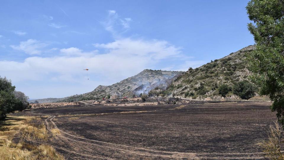 Un incendi agrícola crema disset hectàrees a Biosca