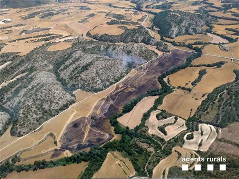 vista aèria de la zona afectada - Biosca