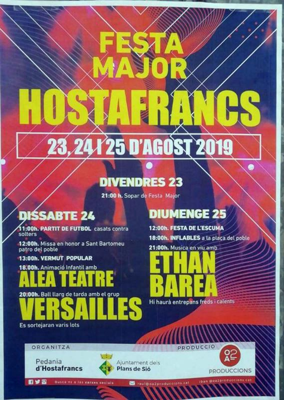 cartell Festa Major d'Hostafrancs 2019
