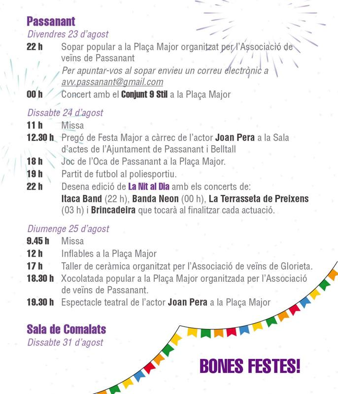 cartell Festa Major de Passanant 2019