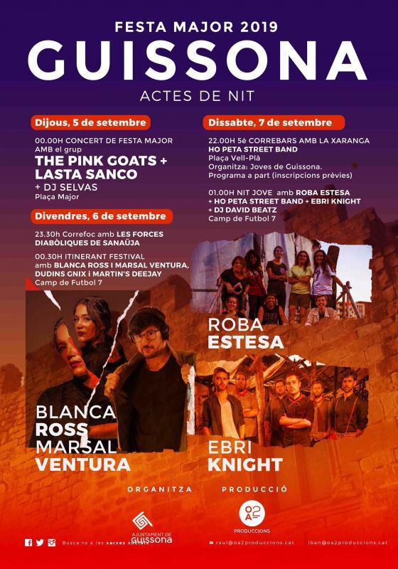 cartell Festa Major de Guissona 2019 actes nit - Guissona