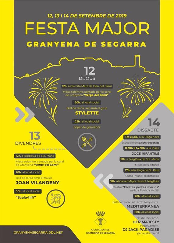 cartell Festa Major de Granyena de Segarra 2019