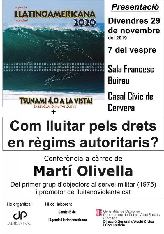 cartell Com lluitar pels drets en règims autoritaris? i Presentació de l'Agenda Llatinoamericana Mundial 2020