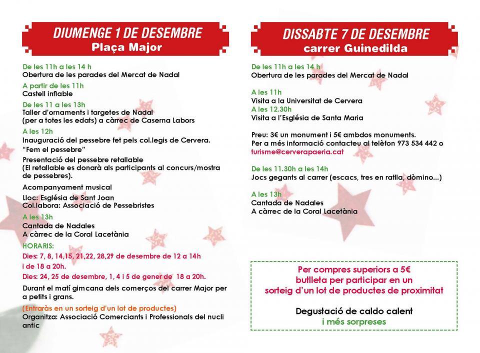 Programa Mercat de Nadal 2019 Cervera - Cervera