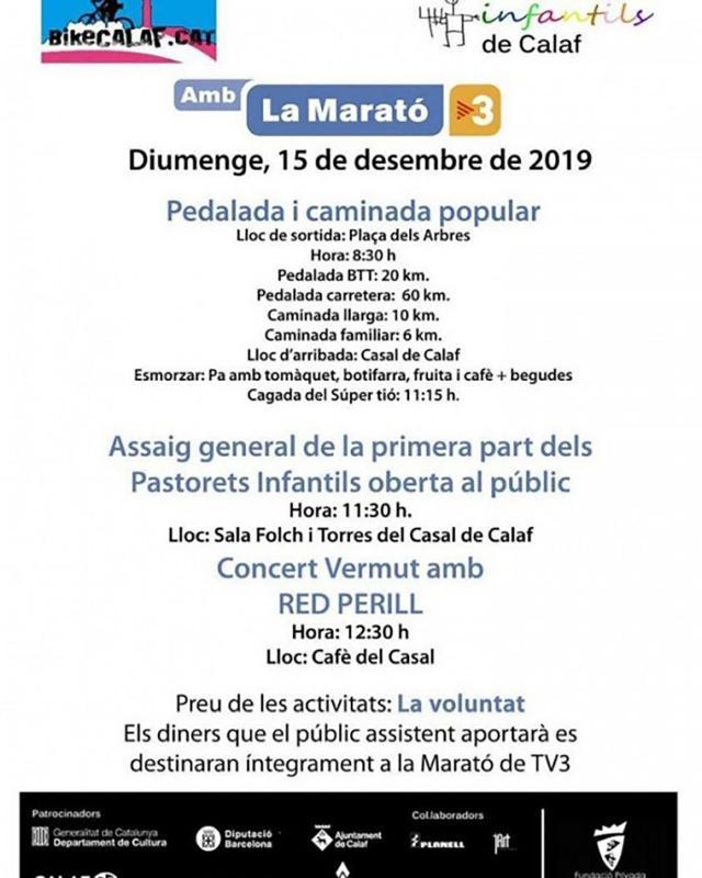 cartell Actes de la Marató de TV3 a Calaf - Calaf
